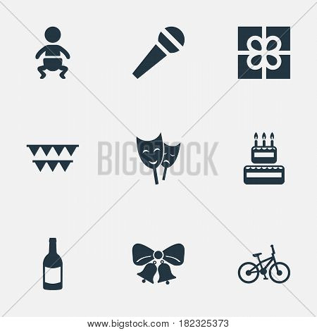 Vector Illustration Set Of Simple Holiday Icons. Elements Speech, Box, Mask And Other Synonyms Bicycle, Jingle And Party.