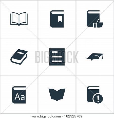 Vector Illustration Set Of Simple Knowledge Icons. Elements Blank Notebook, Notebook, Academic Cap And Other Synonyms Notebook, Recommended And Page.