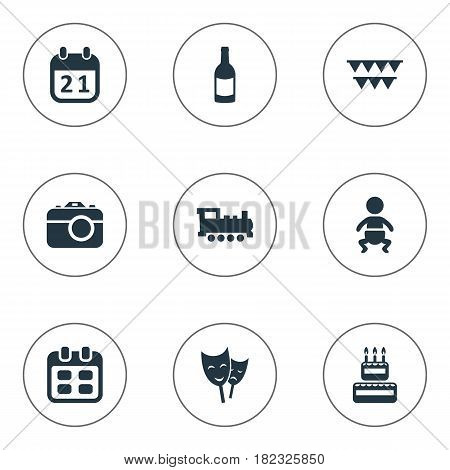 Vector Illustration Set Of Simple Birthday Icons. Elements Mask, Special Day, Beverage And Other Synonyms Mask, Kid And Decorations.