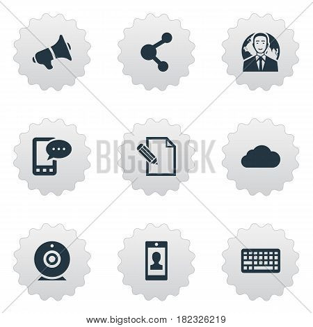 Vector Illustration Set Of Simple Blogging Icons. Elements Keypad, Overcast, E-Letter And Other Synonyms Overcast, Globe And Camera.