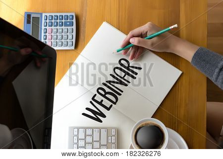 Webinar Man Hand On Table Business, Coffee, Split Tone