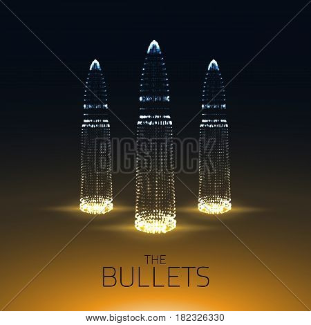 Abstract vector yellow background with glowing bullet. Cloud of shining points in the shape of a bullet. Futuristic style card. Eps10