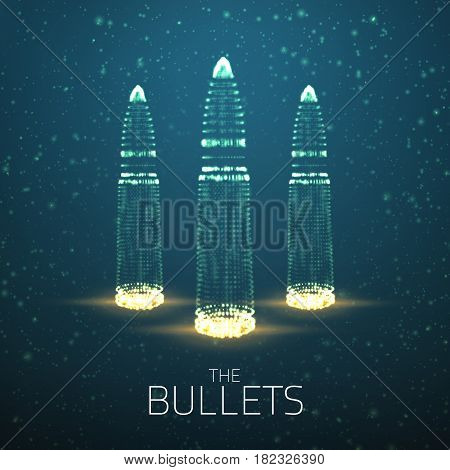 Abstract vector turquoise background with glowing bullet. Cloud of shining points in the shape of a bullet. Futuristic style card. Eps10
