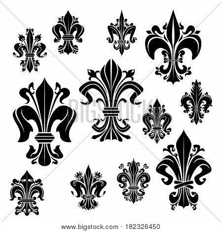 Fleur-de-lis vector icons of heraldic royal lily flower French imperial epoch symbol. Isolated fleur de lys flourish ornate heraldry petals for floral ornament or luxury interior design decor element