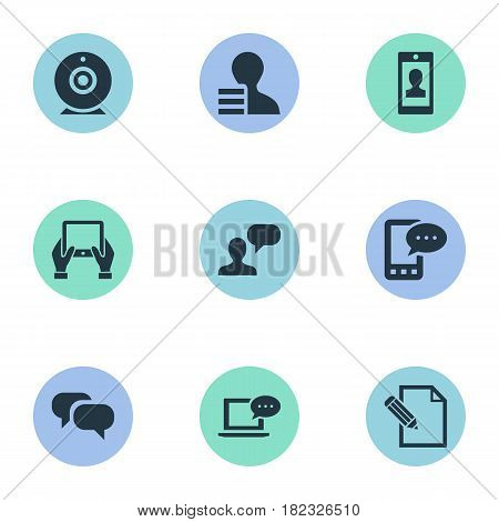 Vector Illustration Set Of Simple User Icons. Elements Gain, Man Considering, E-Letter And Other Synonyms Gossip, Conversation And Camera.
