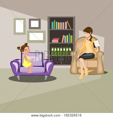 Girl talking with psychologist. Little girl at reception with psychologist