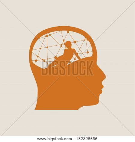 The relationships between men and women. Silhouette of the young posing lady inside the head of a man. Love theme. Man thinking about woman