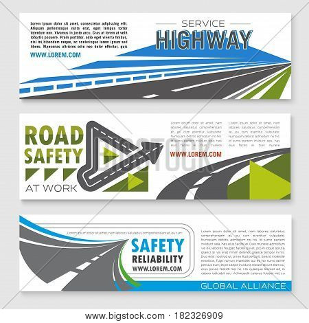 Road safety service banners set for highway reliability construction or development investment company. Symbols of highway routes and bridges or motorway tunnels elements and symbols of road journey