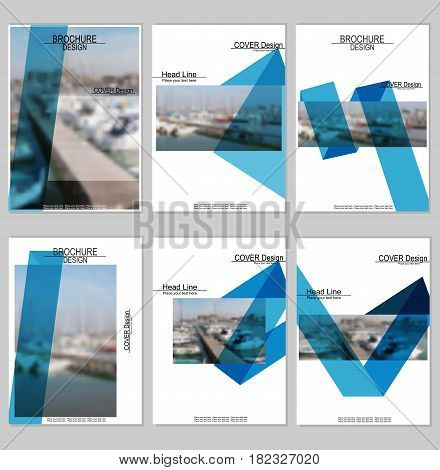 Vector brochure cover templates with blurred seaport. Business brochure cover design. EPS 10. Mesh background.
