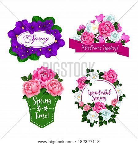 Spring Time isolated icons design of flowers and floral bouquets. Set of springtime blooming roses and begonia blossoms, crocuses bunches with green ribbons for Welcome Spring greeting quotes
