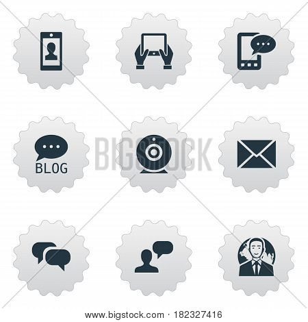 Vector Illustration Set Of Simple Blogging Icons. Elements Gossip, Post, Broadcast And Other Synonyms E-Letter, Conversation And Epistle.