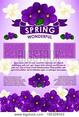 Spring floral greeting poster template. Spring flowers of white crocus, jasmine and purple violet with ribbon banner and text layout, decorated by blooming spring flower border below