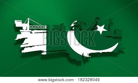 Energy and Power icons set and grunge brush stroke. Coal mining relative image. 3D rendering. Flag of the Pakistan