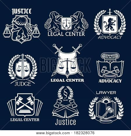 Legal center and advocacy or lawyer vector icons. Symbols of justice scales, laurel wreath and law code book, heraldic lion or swords and judge gavel for advocate and counsel attorney office