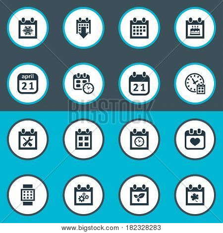 Vector Illustration Set Of Simple Plan Icons. Elements Reminder, Intelligent Hour, Snowflake And Other Synonyms Snowflake, Day And Wheel.