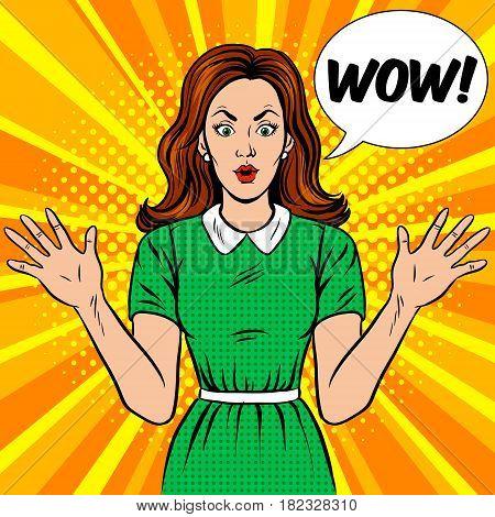 Surprised woman pop art retro vector illustration. Comic book style imitation.