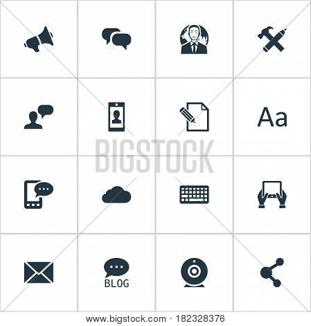 Vector Illustration Set Of Simple Newspaper Icons. Elements Site, Overcast, Cedilla And Other Synonyms Contract, Blog And Speaker.