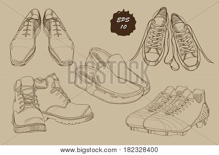 Vector illustration of Set hand drawn graphic Men Footwear with sepia effect. Casual and sport style, gumshoes for man. Shoes for all seasons. Retro and vintage style. Doodle, drawing Design isolated object for logo.
