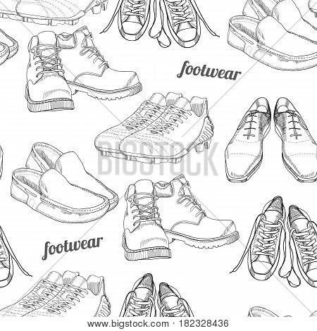 Vector illustration of hand drawn seamless pattern Men Footwear. Casual and sport style, gumshoes for man. Shoes for all seasons. Retro and vintage paper. Doodle, drawing wallpaper, wrapping paper, backdrop.