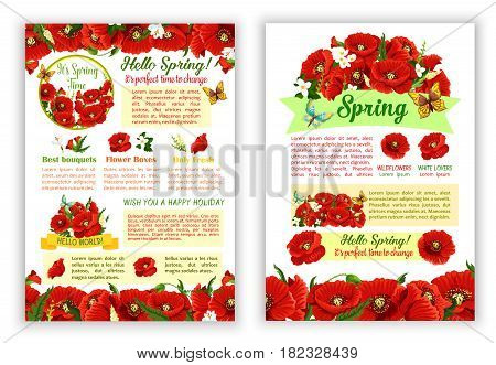 Hello Spring poster with vector floral bouquets. Red blooming poppy flowers and springtime flourish jasmine blossoms or lily buds with butterflies and spring greeting design