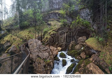 75m Tall Golling Waterfall (Golling Falls) located near the City of Salzburg near the Village of Golling an der Salzach, Austria