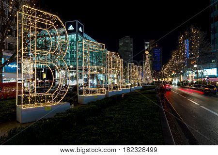 BERLIN - DECEMBER 07 2016: The shopping street of West Berlin Tauentzienstrasse in the Christmas illuminations.
