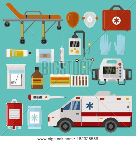 Medical icons set care heart ambulance hospital emergency and syringe pharmacy clinic web human laboratory symbols vector illustration. Medication ambulance
