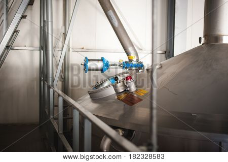 Beer Manufacture Line. Equipment For Staged Production Bottling Of Finished Food Products. Metal Str