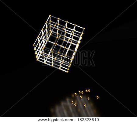 Molecule And Communication Background. Wireframe model of the cube. Lines and spheres. Medical, technology, chemistry, science relative. Shallow depth of field. 3D rendering.