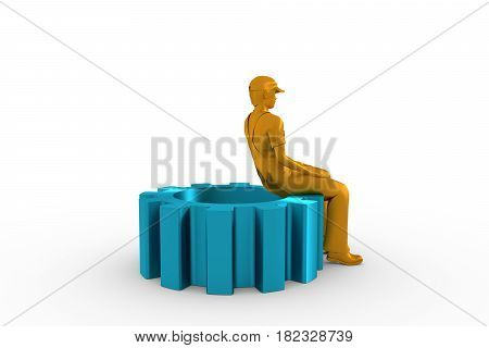 Young man wearing apron and sitting on the gear. 3D rendering. Metallic material.