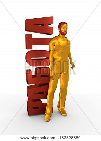 Young man wearing apron. Bearded worker at job word. 3D rendering. Metallic material. Russian translation of the inscription: job.
