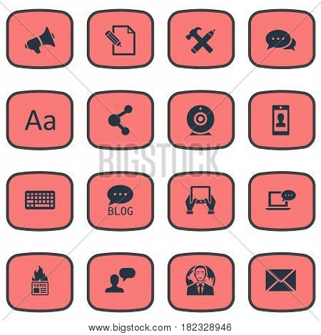 Vector Illustration Set Of Simple Blogging Icons. Elements Keypad, Repair, Loudspeaker And Other Synonyms Smartphone, Cedilla And Contract.