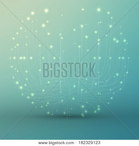 Abstract vector mesh sphere background. Bioluminescence of tentacles. Futuristic style card. Elegant background for business presentations. Eps 10.