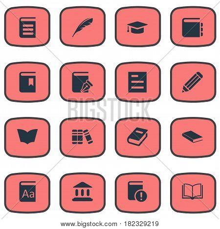 Vector Illustration Set Of Simple Education Icons. Elements Plume, Journal, Notebook And Other Synonyms Quill, Pencil And Bookshelf.