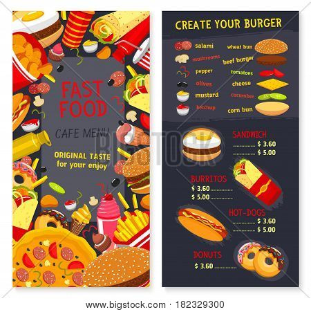 Fast food menu for restaurant. Vector price for combo meals, snacks and desserts. Fastfood burger choice of cheeseburger and hamburger sandwiches, pizza or hot dog, ice cream and chocolate donuts