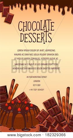 Chocolate desserts vector poster. Confectionery sweets and pies, tortes, tiramisu or brownie pudding with chocolate bars and fondant glaze. Design for cafeteria cafe, bakery or pastry patisserie