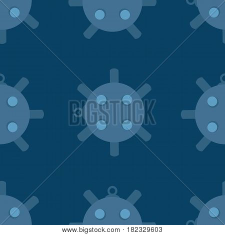 Naval mine seamless pattern vector illustration. Cartoon sea bomd in flat style background.