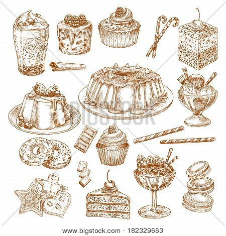 Pastry cakes and desserts vector sketch icons. Biscuits and cupcakes, chocolate muffins and tortes. Homemade cheesecake, tiramisu and brownie pie, charlotte pudding, ice cream and gingerbread cookie