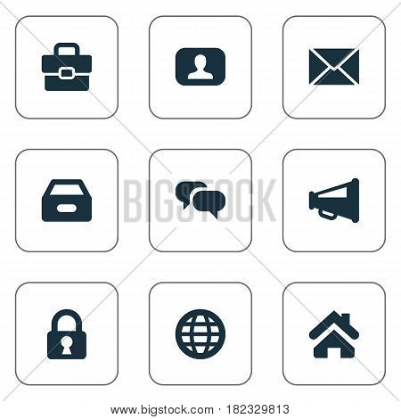 Vector Illustration Set Of Simple Business Icons. Elements Dossier, Megaphone, Inbox And Other Synonyms Dialog, World And Letter.