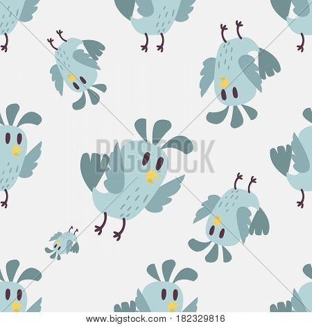 Cute bird vector happy drawing decoration. Cartoon bird with funny little cute bird family seamless pattern. Vector character wing colorful cute birds wild sweet animals background,