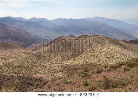 Landscape with hills and mountains in Death Valley National Park California.