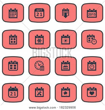 Vector Illustration Set Of Simple Calendar Icons. Elements Annual, Agenda, Event And Other Synonyms Winter, Planner And April.