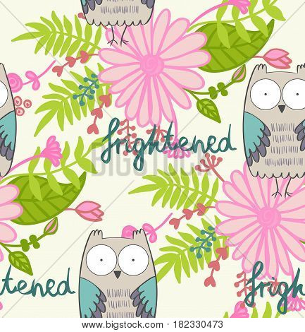vector illustration of a cartoon owl. Fright