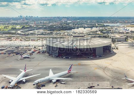 MIAMI USA - FEBRUARY 10 2017 - Florida Miami airport aerial view panorama landscape from airplane American Airlines hangar.