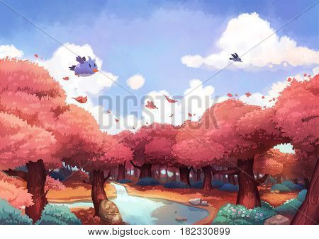 A Tiny Bird Flying Above a Beautiful Forest in the Morning. Video Game's Digital CG Artwork, Concept Illustration, Realistic Cartoon Style Background
