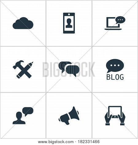 Vector Illustration Set Of Simple Newspaper Icons. Elements Gossip, Profile, Notepad And Other Synonyms Conversation, Message And Smartphone.