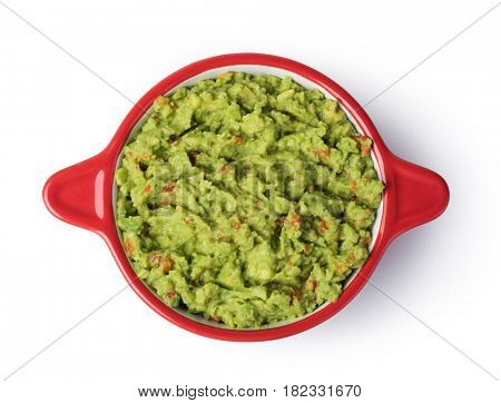 Guacamole in a bowl on a white background