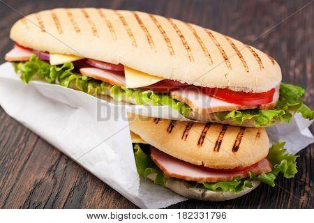 sandwich on a wooden