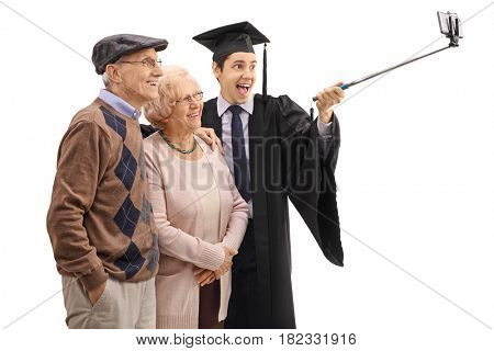 Graduate student taking a selfie with his grandparents isolated on white background