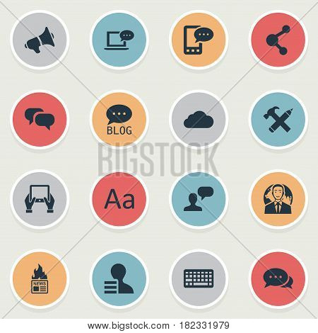 Vector Illustration Set Of Simple Newspaper Icons. Elements International Businessman, Gazette, Notepad And Other Synonyms E-Letter, Gossip And Blog.